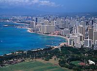 Waikiki seen from Diamond Head, Oahu, Hawaii