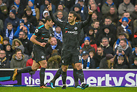 Eden Hazard of Chelsea (10) Celebrates scoring his sides third goal  during the Premier League match between Brighton and Hove Albion and Chelsea at the American Express Community Stadium, Brighton and Hove, England on 20 January 2018. Photo by Edward Thomas / PRiME Media Images.