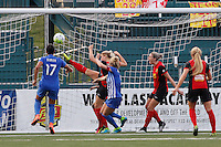 Rochester, NY - Friday May 27, 2016: Western New York Flash defender Abigail Dahlkemper (13) plays the ball. The Western New York Flash defeated the Boston Breakers 4-0 during a regular season National Women's Soccer League (NWSL) match at Rochester Rhinos Stadium.