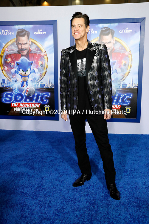 "LOS ANGELES - FEB 12:  Jim Carrey at the ""Sonic The Hedgehog"" Special Screening at the Village Theater on February 12, 2020 in Westwood, CA"