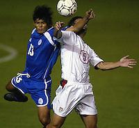 Kerry Zavagnin battles for a ball in San Salvador, El Salvador, Saturday Oct. 9, 2004. USA won 2-0.