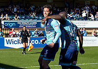 Joe Jacobson of Wycombe Wanderers celebrates his goal during the Sky Bet League 2 match between Wycombe Wanderers and Cheltenham Town at Adams Park, High Wycombe, England on the 8th April 2017. Photo by Liam McAvoy.