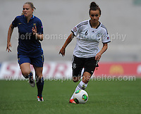Lea Declercq of France battles with Lina Magull of Germany during the UEFA Womens U19 Semi-Final at Parc y Scarlets Wednesday 28th August 2013. All images are the copyright of Jeff Thomas Photography-www.jaypics.photoshelter.com-07837 386244-Any use of images must be authorised by the copyright owner.