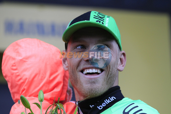 Lars Boom (NED) Belkin wins the grueling cobbled stage in Arenberg at the end of Stage 5 of the 2014 Tour de France running 155.5km from Ypres to Arenberg. 9th July 2014.<br /> Picture: Eoin Clarke www.newsfile.ie