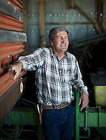 Farmer Matt Heimerich, one of only a few remaining farmers in Cowley County, near the town of Crowley, Colorado, Thursday, May 19, 2016. When most farmers sold their water rights in the 1980s, Heimerich and his family held on to their's. As a result, they are still able to irrigate their farm land. Crowley County, once a thriving agricultural community with over 50,000 acres of farm land, sold it's water rights the City of Aurora for municipal use and now farms a little more than 5,000 acres of land. The result has seen dried and dead farm land and abandoned homesteads. Crowley County represents a dire look at how mismanaged water rights can have devastating effects on an already drought prone region.<br /> <br /> Photo by Matt Nager