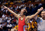 March 21 2009        J Jaggers from Ohio State (red) reacts after defeating Ryan Williams (not showns) from Old Dominion in the 141 pound weight class in the championship round of the NCAA Division I  Wrestling Championships which were held March 19 through March 21, 2009 at the Scottrade Center in downtown St. Louis, Missouri. ..         *******EDITORIAL USE ONLY*******