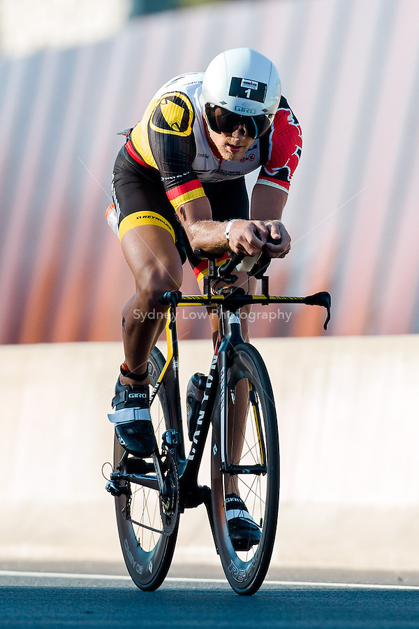 MELBOURNE, March 21, 2015 - Nils FROMMHOLD (GER) #1 on the bike leg of the 2015 IRONMAN Asia-Pacific Championship in Melbourne, Australia on Sunday March 21, 2015. (Photo Sydney Low / sydlow.com)