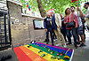 Sir Ian McKellen and Lord Michael Cashman kiss after laying rainbow coloured flowers on the rainbow flag outside the Russian Embassy. <br /> <br /> Amnesty International UK<br /> CHECHNYA: STOP ABDUCTING AND KILLING GAY MEN<br /> protest at the Russian Embassy, London, Great Britain <br /> 2nd June 2017 <br /> <br /> Over a hundred men suspected of being gay have been abducted, tortured and some even killed in the southern Russian republic of Chechnya.<br /> <br /> The Chechen government won&rsquo;t admit that gay men even exist in Chechnya, let alone that they ordered what the police call 'preventive mopping up' of people they deem undesirable. We urgently need your help to call out the Chechen government on the persecution of people who are, as they put it, of 'non-traditional orientation', and urge immediate action to ensure their safety.<br /> <br /> Photograph by Elliott Franks <br /> Image licensed to Elliott Franks Photography Services