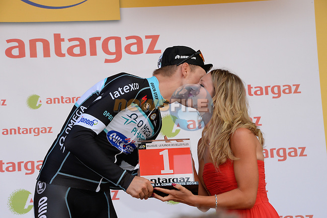 Tony Martin (GER) Omga Pharma-Quick Step receives the combativity award for his efforts during Stage 10 of the 2014 Tour de France running 161.5km from Mulhouse to La Planche des Bellles Filles. 14th July 2014.<br /> Photo ASO/X.Bourgois/www.newsfile.ie