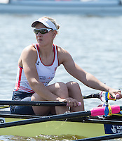 Brandenburg. GERMANY.<br /> GBR W4X, Bow Kristina STILLER,  at the start of their heat at the 2016 European Rowing Championships at the Regattastrecke Beetzsee<br /> <br /> Friday  06/05/2016<br /> <br /> [Mandatory Credit; Peter SPURRIER/Intersport-images]