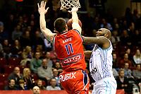 GRONINGEN -  Basketbal, Donar - New Heroes Den Bosch, Martiniplaza, Dutch Basketbal League, seizoen 2018-2019,  26-01-2019, Den Bosch speler Roel Aarts met /Donar speler LaRon Dendy