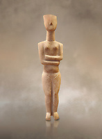 Marble female Cycladic statue figurine with folded arms of the Spedos type. Early Cycladic Period II (2800-2300 BC) from Naxos, Cat No 6195. National Archaeological Museum, Athens. <br /> <br /> This Cycladic statue figurine is of the Spedos type standing on tip tie with bended knees and arms folded under the breasts with head raiised.