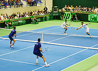06-04-13, Tennis, Rumania, Brasov, Daviscup, Rumania-Netherlands,Jean-Julien Rojer and Robin Haase in the dubbles