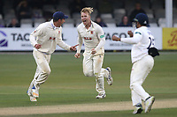 Simon Harmer of Essex celebrates taking the wicket of Ryan Higgins during Essex CCC vs Middlesex CCC, Specsavers County Championship Division 1 Cricket at The Cloudfm County Ground on 29th June 2017