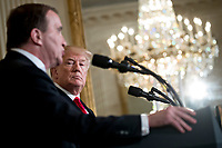 U.S. President Donald Trump, right, listens as Stefan Lofven, Sweden's prime minister, speaks during a news conference in the East Room of the White House in Washington, D.C., U.S., on Tuesday, March 6, 2018. Trump and Lofven are looking to focus on trade and investment between the two countries and ways to achieve shared defense goals. <br /> CAP/MPI/RS<br /> &copy;RS/MPI/Capital Pictures