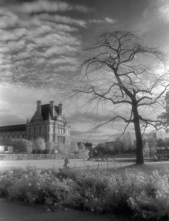 Infrared image of the Louvre, Paris, France in October