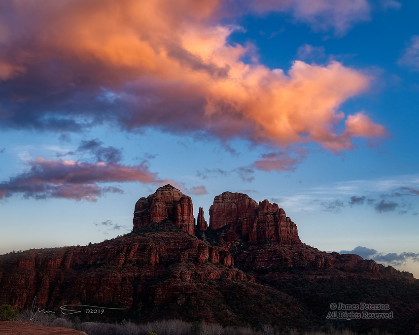 Cathedral Rock Sunset ©2019 James D Peterson.  When the remnants of a winter storm are dissipating, we can get some pretty elegant clouds at dusk around Sedona.