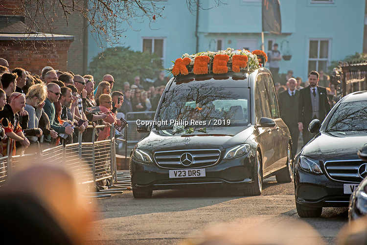 """Wreath on the roof of the hearse saying """"KEEF"""" at the  funeral of the late Prodigy singer Keith Flint at St Marys Church in Bocking,  Essex today."""
