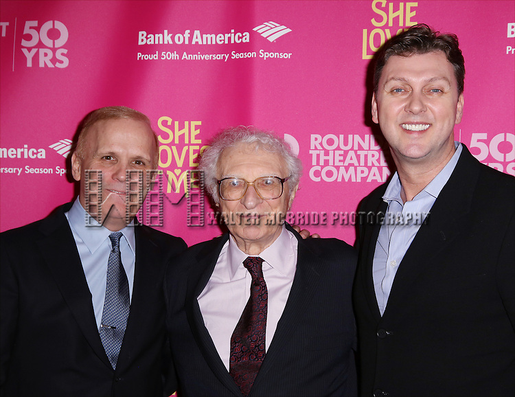 Scott Ellis, Sheldon Harnick and Warren Carlyle attends the Broadway Opening Night Performance press reception for 'She Loves Me' at Studio 54 on March 17, 2016 in New York City.