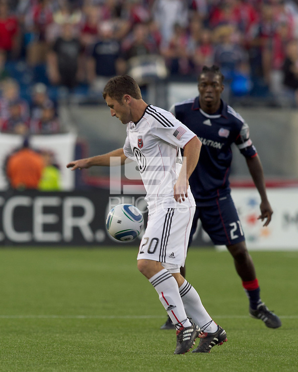 DC United midfielder Stephen King (20) traps the ball. The New England Revolution defeated DC United, 1-0, at Gillette Stadium on August 7, 2010.
