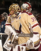Ryan Edquist (BC - 35), Joe Woll (BC - 31) - The Boston College Eagles defeated the Providence College Friars 3-1 (EN) on Sunday, January 8, 2017, at Fenway Park in Boston, Massachusetts.