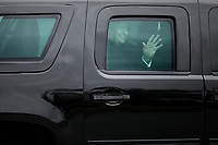 United States President Donald J. Trump waves to journalists as he leaves Walter Reed National Military Medical Center following his annual physical examination January 12, 2018 in Bethesda, Maryland. Trump will next travel to Florida to spend the Dr. Martin Luther King Jr. Day holiday weekend at his Mar-a-Lago resort. <br /> Credit: Chip Somodevilla / Pool via CNP /MediaPunch