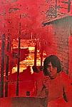 Robert Landau self portrait with red filter circa 1970