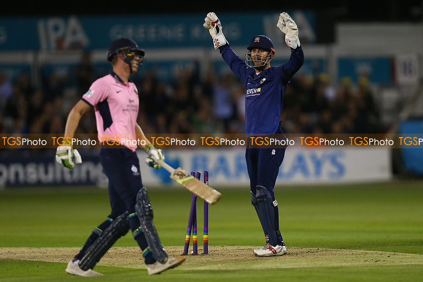 James Foster of Essex with an appeal for a wicket during Essex Eagles vs Middlesex, NatWest T20 Blast Cricket at The Cloudfm County Ground on 11th August 2017