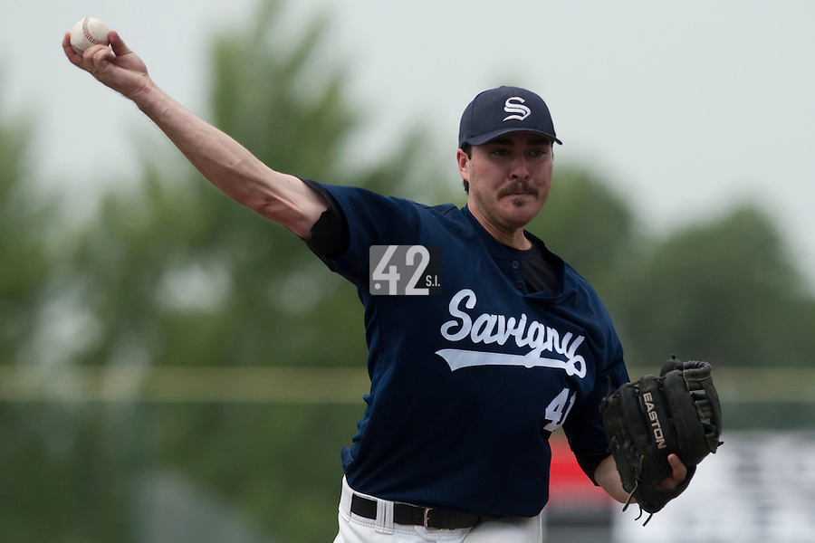 23 May 2009: Tim Stewart of Savigny pitches against Senart during the 2009 challenge de France, a tournament with the best French baseball teams - all eight elite league clubs - to determine a spot in the European Cup next year, at Montpellier, France. Savigny wins 4-1 over Senart.