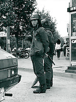 Polizei bei Demonstration in Kwangju, Korea 1986