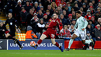 Liverpool's Andrew Robertson under pressure from Bayern Munich's Serge Gnabry<br /> <br /> Photographer Rich Linley/CameraSport<br /> <br /> UEFA Champions League Round of 16 First Leg - Liverpool and Bayern Munich - Tuesday 19th February 2019 - Anfield - Liverpool<br />  <br /> World Copyright © 2018 CameraSport. All rights reserved. 43 Linden Ave. Countesthorpe. Leicester. England. LE8 5PG - Tel: +44 (0) 116 277 4147 - admin@camerasport.com - www.camerasport.com