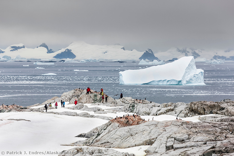 Tourists from the M/V Polar Star hike on Peterman Island, western Antarctic Peninsula.