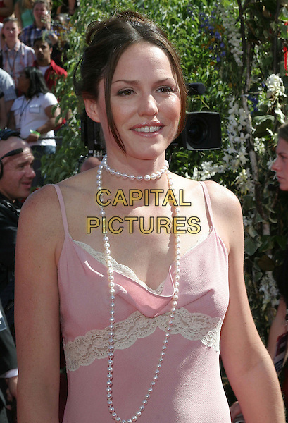 JORGA FOX.6th Annual Prime Time Emmy Awards held at the Shrine Auditorium. .September 19th, 2004.half length, pearl necklace, pink top lace trim.www.capitalpictures.com.sales@capitalpictures.com.©Don Shaffer/AdMedia/Capital Pictures.