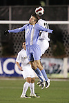 16 November 2007: North Carolina's Brian Shriver (31) and Wake Forest's Lyle Adams (30) challenge for a header. Wake Forest University played the University of North Carolinaat SAS Stadium in Cary, NC in an Atlantic Coast Conference Men's Soccer tournament semifinal.