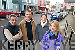 BAY: Business people in Killorglin who are calling for the provision of a loading bay in the Market Street/Lower Bridge Street area of the town, l-r: Daniele Giovanelli (Giovanelli's), Irwin Kingston (Kingston's Bar), Cliona Foley (Sol Y Sombra), Antoinette Giovanelli (Giovanelli's).   Copyright Kerry's Eye 2008