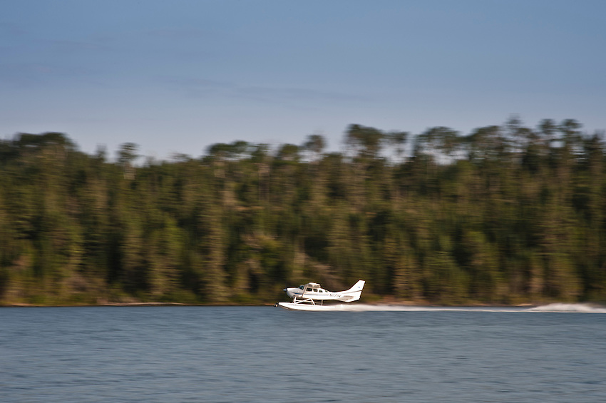 A sea plane prepares for take off from Tobin Harbor at Isle Royale National Park in Michigan USA.