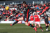 Elliott Ward of MK Dons clears during the Sky Bet League 1 match between Fleetwood Town and MK Dons at Highbury Stadium, Fleetwood, England on 24 February 2018. Photo by David Horn / PRiME Media Images
