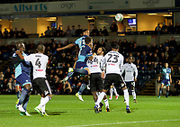 Nathan Tyson of Wycombe Wanderers has a header on goal during the Carabao Cup match between Wycombe Wanderers and Fulham at Adams Park, High Wycombe, England on 8 August 2017. Photo by Alan  Stanford / PRiME Media Images.