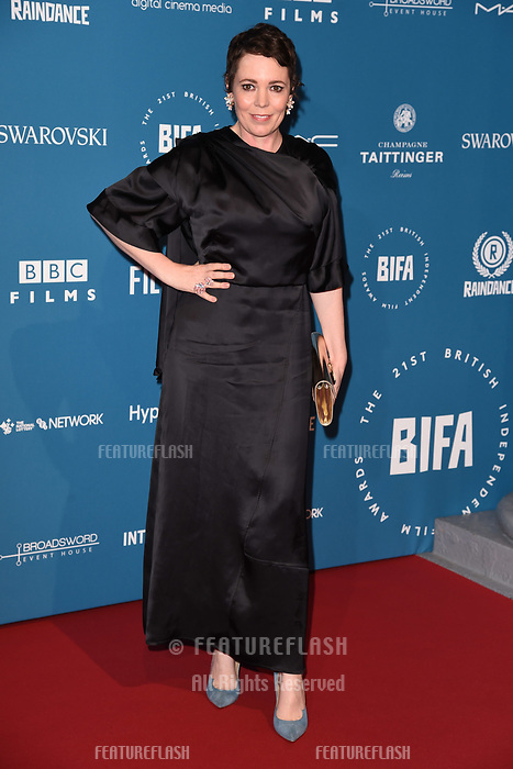 LONDON, UK. December 02, 2018: Olivia Colman at the British Independent Film Awards 2018 at Old Billingsgate, London.<br /> Picture: Steve Vas/Featureflash