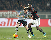 Calcio, quarti di finale di Coppa Italia: Alessandria vs Milan. Torino, stadio Olimpico, 26 gennaio 2016.<br /> Alessandria's Santiago Morero, left, is challenged by AC Milan's Mario Balotelli during the Italian Cup semifinal first leg football match between Alessandria and AC Milan at Turin's Olympic stadium, 26 January 2016.<br /> UPDATE IMAGES PRESS/Isabella Bonotto