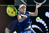 9th January 2018, Sydney Olympic Park Tennis Centre, Sydney, Australia; Sydney International Tennis, round 1; Daria Gavrilova (AUS) hits a return in her match against Olivia Rogowska (AUS)