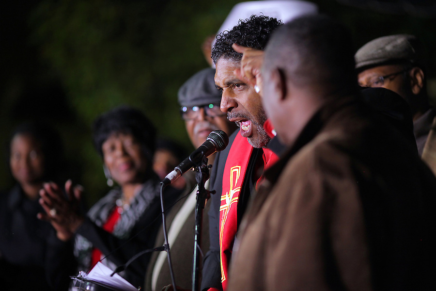 GREENSBORO, NC - NOVEMBER 3:   Rev. William Barber, II, president of the North Carolina NAACP, preaches during a Moral March to the Polls event in Greensboro, NC, on Monday, November 3, 2014.  (Photo by Ted Richardson/For The Washington Post)