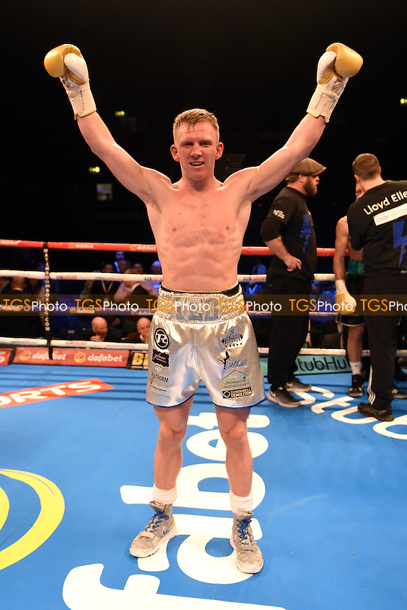 Ted Cheeseman (silver shorts) defeats Lloyd Ellett during a Boxing Show at the SSE Arena, Wembley on 26th November 2016