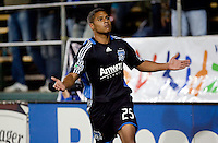Quincy Amarikwa celebrates his goal. FC Dallas defeated the San Jose Earthquakes 2-1 at Buck Shaw Stadium in Santa Clara, California on October 7, 2009.