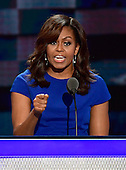 First lady Michelle Obama makes remarks at the 2016 Democratic National Convention at the Wells Fargo Center in Philadelphia, Pennsylvania on Monday, July 25, 2016.<br /> Credit: Ron Sachs / CNP<br /> (RESTRICTION: NO New York or New Jersey Newspapers or newspapers within a 75 mile radius of New York City)