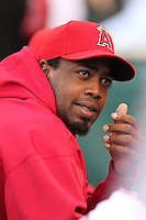 Los Angeles Angels pitcher Jerome Williams #57 before a game against the New York Yankees at Angel Stadium on September 10, 2011 in Anaheim,California. Los Angeles defeated New York 6-0.(Larry Goren/Four Seam Images)