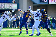 Morgantown, WV - NOV 10, 2018: West Virginia Mountaineers quarterback Will Grier (7) throws a pass from the pocket during game between West Virginia and TCU at Mountaineer Field at Milan Puskar Stadium Morgantown, West Virginia. (Photo by Phil Peters/Media Images International)