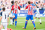 Atletico de Madrid's player Antoine Griezmann and Kevin Gameiro and Deportivo de la Coruña's player Laure and Fernando Navarro during a match of La Liga Santander at Vicente Calderon Stadium in Madrid. September 25, Spain. 2016. (ALTERPHOTOS/BorjaB.Hojas)