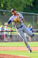 Kane County Cougars third baseman Ramon Hernandez (19) throws to first base during game one of a Midwest League doubleheader against the Wisconsin Timber Rattlers on June 23, 2017 at Fox Cities Stadium in Appleton, Wisconsin.  Kane County defeated Wisconsin 4-3. (Brad Krause/Four Seam Images)