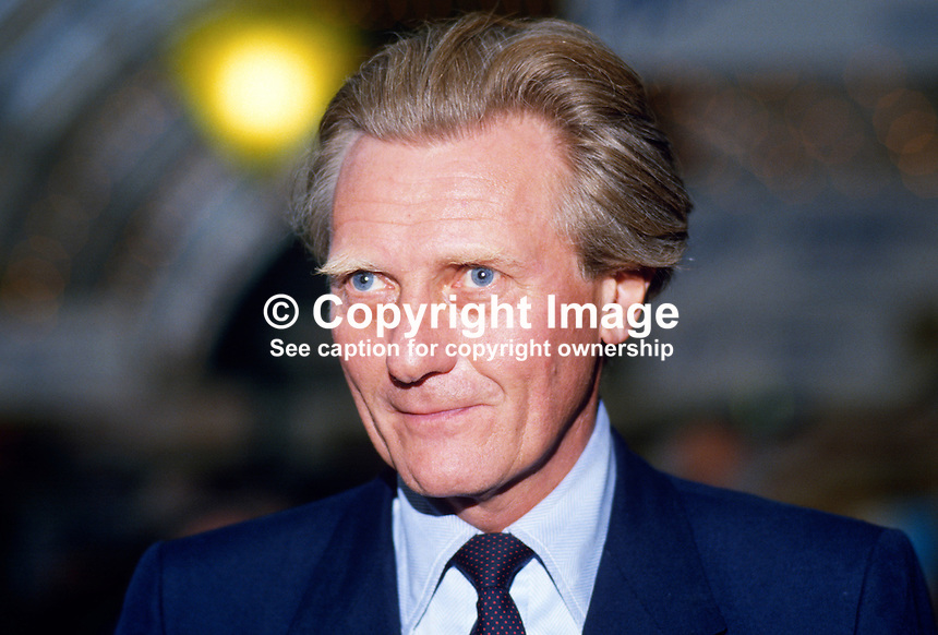 Michael Heseltine, MP, Conservative Party, UK, 19871006MH..Copyright Image from Victor Patterson, 54 Dorchester Park, Belfast, UK, BT9 6RJ..Tel: +44 28 9066 1296.Mob: +44 7802 353836.Voicemail +44 20 8816 7153.Skype: victorpattersonbelfast.Email: victorpatterson@me.com.Email: victorpatterson@ireland.com (back-up)..IMPORTANT: If you wish to use this image or any other of my images please go to www.victorpatterson.com and click on the Terms & Conditions. Then contact me by email or phone with the reference number(s) of the image(s) concerned.